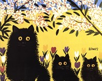 Three Black Cats Fine Art Print