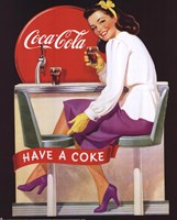 Coca-Cola Lady in Purple Framed Print
