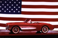 Corvette, 1957 - Us Flag Framed Print