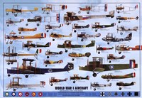 World War I Aircraft - blue Wall Poster