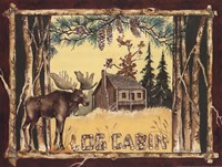 Log Cabin Moose Framed Print
