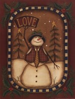 Love Snowman Framed Print