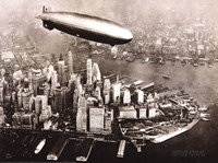Zeppelin Over New York Framed Print