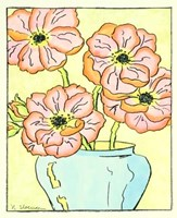Whimsical Flowers I Hand Colored Print