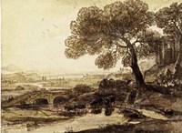 Sepia Landscape with Bridge Fine Art Print