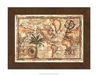 World Map with Globe Giclee