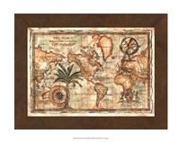 World Map with Globe Giclee