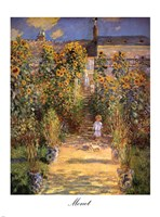 The Artist's Garden at Vetheuil with Boy, c.1880 Framed Print