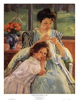 Young Mother Sewing Fine Art Print