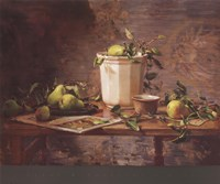 Pears and Tapestry Fine Art Print