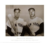 American Hero's Joe Dimaggio & Mickey Mantle Framed Print