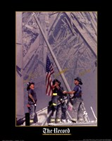 Firemen Raising the Flag at World Trade Center Framed Print