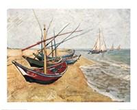 Fishing Boats on the Beach, Saintes-Maries-De-La-Mer, c.1888 Fine Art Print