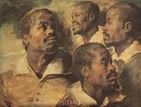 Four Negro Heads Fine Art Print