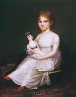 Girl Holding a Doll Fine Art Print