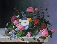 Still Life with Flowers and Bird Nest Fine Art Print