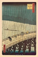 Ohashi Bridge in the Rain Fine Art Print