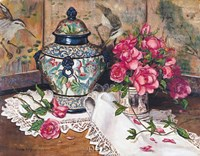 Roses with Temple Jar Fine Art Print