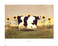 Cow With Sunflowers Fine Art Print