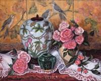 Roses with Green Jar Fine Art Print