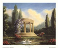 Garden with Swans and Gazebo Fine Art Print