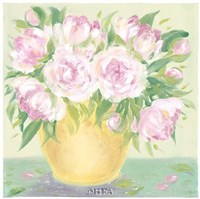 Yellow Vase Peonies II Fine Art Print