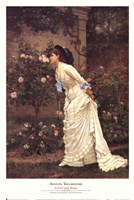 A Girl and Roses Fine Art Print