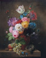 A Rich Still Life of Roses Fine Art Print