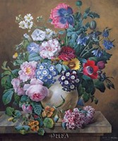 A Rich Still Life of Summer Flowers Fine Art Print