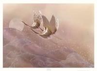 Cranes Over Waves Fine Art Print