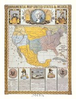 Ornamental Map/United States and Mexico Fine Art Print