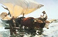 Retour de la Peche, Halage de la Barque Fine Art Print