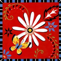 Daisies And Butterflies-Red Fine Art Print