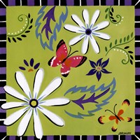 Daisies And Butterflies-Green Fine Art Print