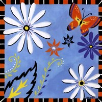 Daisies And Butterflies-Blue Fine Art Print