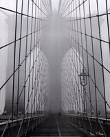 Foggy Day on Brooklyn Bridge Fine Art Print