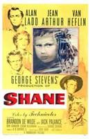 Shane George Stevens Alan Ladd Jean Arthur Van Heflin Wall Poster