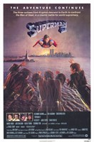 Superman 2 Flying Above River Wall Poster