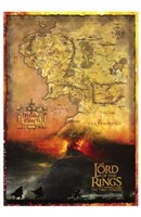Lord of the Rings: the Two Towers Map Fine Art Print