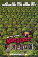 Mars Attacks Green Brain Aliens Wall Poster