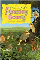Sleeping Beauty with Forest Creatures Wall Poster
