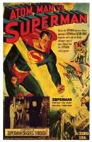 Atom Man Vs Superman Superman Crashes Through Wall Poster