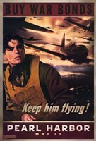 Pearl Harbor Art Deco Buy War Bonds Wall Poster