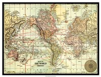 World Map with black border Fine Art Print