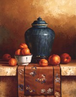 Ginger Jar with Peaches, Apricots & Tapestry Fine Art Print