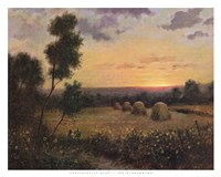 Haystacks At Dusk Fine Art Print