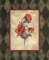 Poppy I W-Green Border Framed Print