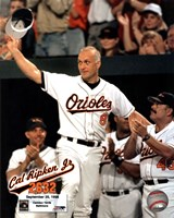 Cal Ripken, Jr. - 2632nd game (hat tip) Framed Print