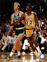 Larry Bird and Magic Johnson Framed Print