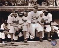 Jackie Robinson - First Day, with Spider Jorgenson, Pee Wee Reese, Ed Stankey Framed Print